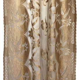 "Panel 6'6"" x 3'2"" Bronze Floral Stripe Silky Lace"