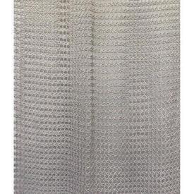 "Panel 6'8"" x 1'6"" Pale Grey Small Geo Heavy Crochet / Fringed"