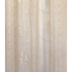 """Pr Nets 8'2"""" x 3' Pale Apricot Floral Swag Lace / Fringed"""