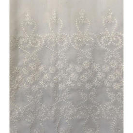 "Pr Nets 8'5"" x 4' Dirty Cream Voile / Floral Emb Border / Scallop"