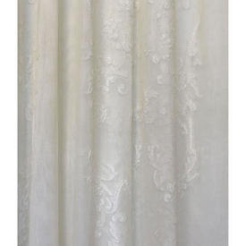 "Pr Nets 8'10"" x 5'4"" Cream Fine Floral & Leaf Scroll Madras Lace"