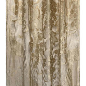 "Pr Nets 7'5"" x 3'3"" Pale / Gold Grapevine Silky Period Lace / Fringed"