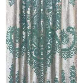 "Pr Nets 8'9"" x 3' Dark Aqua / Off-White Large Floral Motif Silky Lace / Fringed"