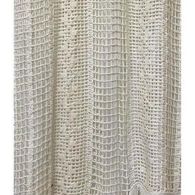 "Pr Panels 7'5"" x 4' Ivory Geo Stripe Macrame / Fringe"