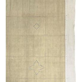 "Pr Panels 7'6"" x 6' Pale Lemon Linen / Geo Cutwork / Ivory Border"