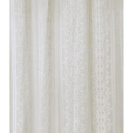 "Pr Nets 7'9"" x 5'6"" Ivory Scroll Stripe Cotton Madras"