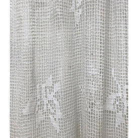 "Panel 7'9"" x 7' Off White Heavy Cotton Diamond Macrame / Fringe"