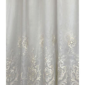 Pr Nets 8' x 12' Dirty Cream Voile / Cream Floral Emb Cutwork Border / Scallop