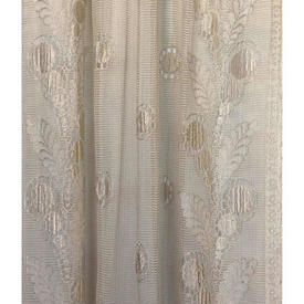 "Pr Nets 7' x 2'6"" Cream Spot & Leaf Border Silky Lace"