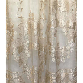 """Pr Nets 6'11"""" x 3'8"""" Champagne Floral & Berry Silky Lace"""