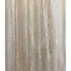 "Panel 7' x 2'9"" Champagne Floral Bouquet Motif Silky Lace / Fringe"
