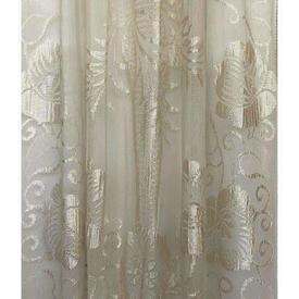 """Panel 6'11"""" x 2'9"""" Oyster Large Floral Motif Silky Lace / Fringe"""