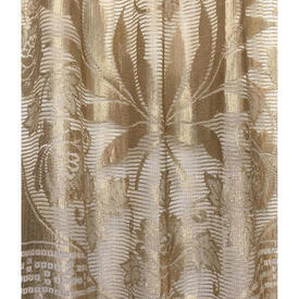 "Panel 7'1"" x 3' Pale / Gold Large Floral & Laurel Wreath Silky Lace / Fringe"