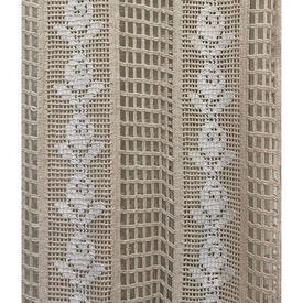 "Pr Nets 7'3"" x 3' Cream Macrame / Floral Crochet Stripe Inset Panels / Fringed"