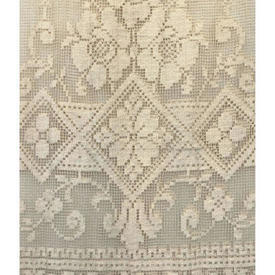 "Panel 7'3"" x 4'6"" Dark Cream Geo Floral Lace / Fringed"