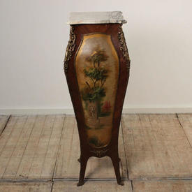 """3'9"""" Kingwood Louis Shaped Stand with Painted Scenes, Ormolu Décor, & Marble Tops (H116Cm)"""