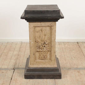 "3'  x  1'7"" Square Base & Top Pewter & Stone Effect Pedestal (H88Cm)"