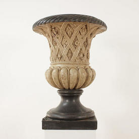 "2'6"" Square Base Pewter & Stone Effect Flower Pattern Urn (H79Cm)"