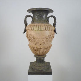 3' Square Base Pewter & Stone Effect Decorated Urn with Two Handles (H91Cm)