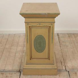 "2'5"" Square Cream & Green Painted Regency Style Pedestal (H74Cm)"