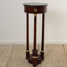 "3'4"" Mahogany French Empire Style Tri Legged Pedestal with Gilt Decor & Marbilised Circular Top (H100Cm)"