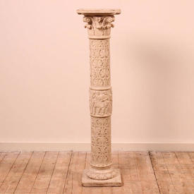 """3'4"""" White Resin Pedestal Decorated with Scrolls, Figures & Acanthus Leaves (H102Cm)"""