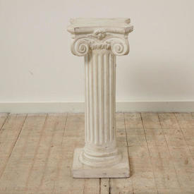 """2'1"""" Off White Plaster Fluted Column with Scroll Top (H63Cm)"""