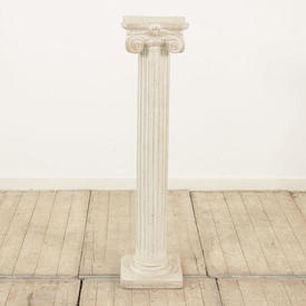 """3'7"""" Off White Plaster Fluted Column with Scroll Top (H108Cm)"""