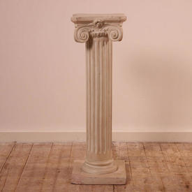 """2'6"""" White Plaster Plinth with Scroll Decor Top & Fluted Column (H77Cm)"""