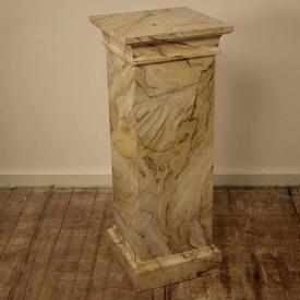 3' Cream & Grey Marbelised Finish Square Column Plinth (H90Cm)