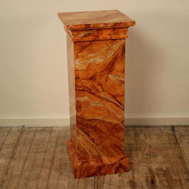 3' Pink, Coral & Grey Marbelised Finish Square Column Plinth (H90Cm)