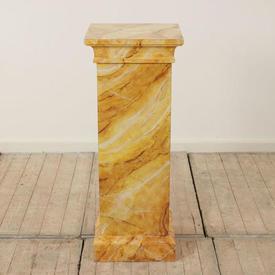 3' Yellow, Gold & White Marbelised Finish Square Column Plinth (H90Cm)