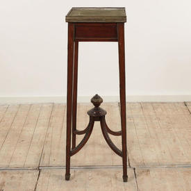 "3'1"" Mahogany & Brass French Empire Style Pedestal with Brass Gallery Sides (H93Cm)"
