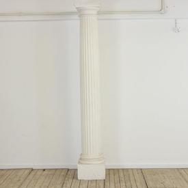 8' White Plaster Greek Fluted Column (H244Cm)