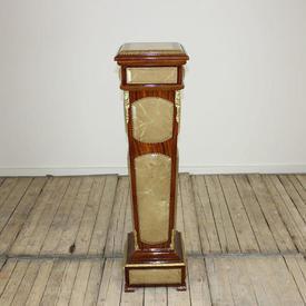 "3'10"" Mahogany & Marble Effect inset Pedestal (H120Cm)"