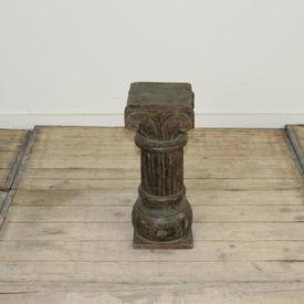 "19"" Carved Oak Gothic Style Pedestal (H49Cm)"