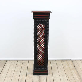 """2'10"""" Black & Red Painted Square Box Plinth with Fretted Side Panels (H87Cm)"""