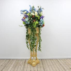 "3'9"" Gold Tri Legged Planter Top Pedestal with Large Flower Arrangement included"