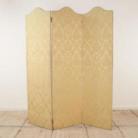 "6'10"" 3 Fold Cream Damask Screen"