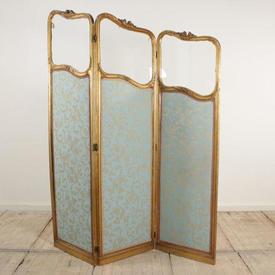 """6'2"""" Gilt 3 Fold Screen Upholstered in Blue Damask"""