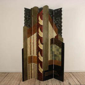 """7'2"""" Abstract  Lacquered 4 Fold Deco Screen"""
