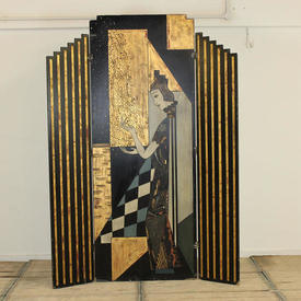 """7'9"""" Black & Gold 3 Fold Shaped Deco Screen with Lady Pattern"""
