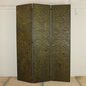 """7'8"""" Green Embossed Leather 3 Fold Screen"""