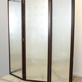 """6'6"""" Polished Fruitwood 3-Fold Screen with Perspex Eglomise Panels & Leather Panels on Reverse"""