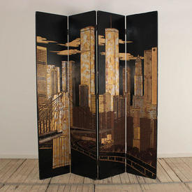 7' Black Lacquered 4 Fold Screen with Gold New York Skyline