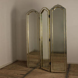 """6'5"""" Silver Gilded 3 Fold Mirrored Screen with Dome Top & inset Panels"""