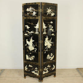 6' Black Lacquered 2 Fold Chinese Screen with Ivory Shell Pattern