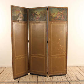 3 Fold Wooden Screen with Leather inset & Picture Top