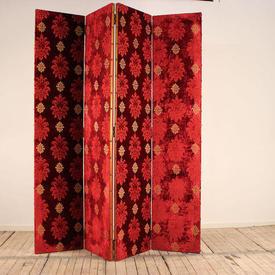 8Ft Red & Gold Velvet Damask 4 Fold Screen