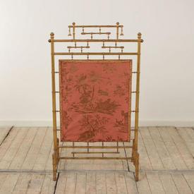 Gilt Painted Bamboo Fire Screen